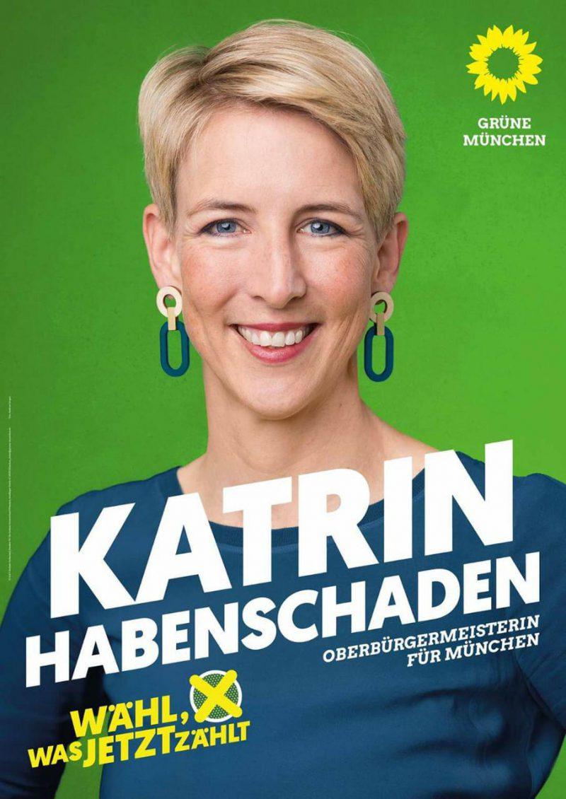Wahlplakat mit dem Portrait von Katrin Habenschaden