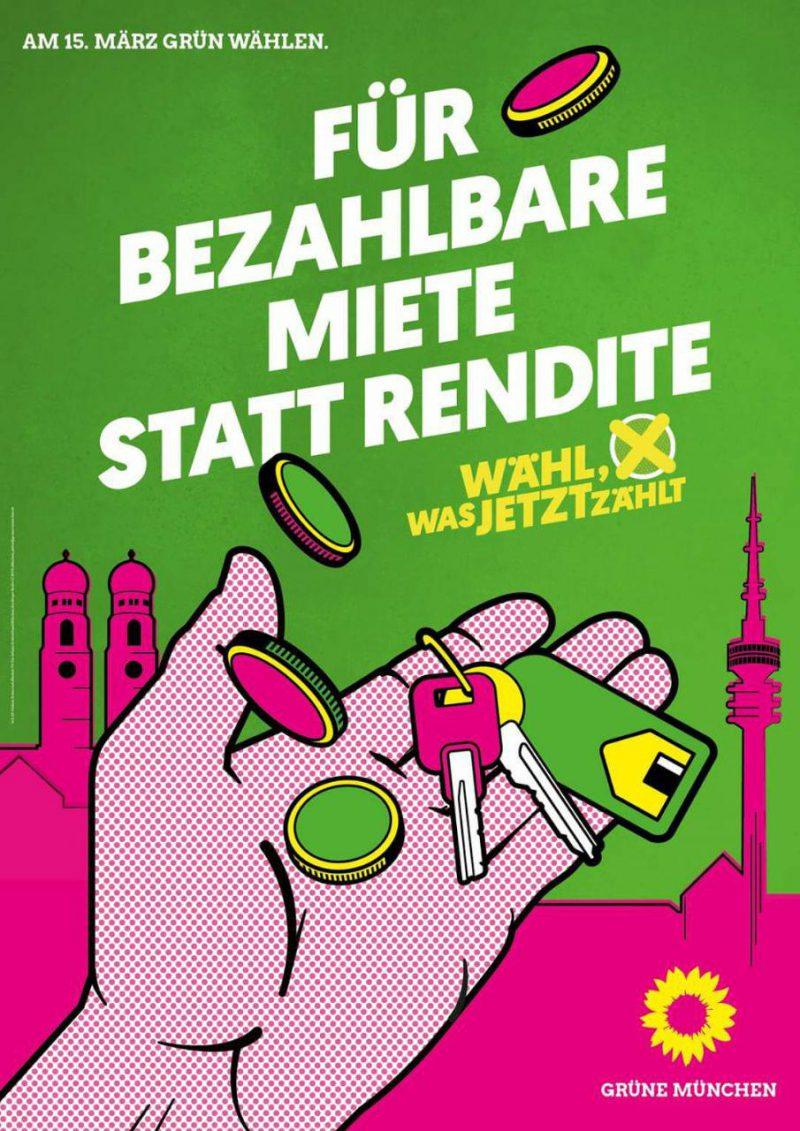 """Wahlplakat mit der Aufschrift """"Für Bezahlbare Miete statt Rendite"""""""