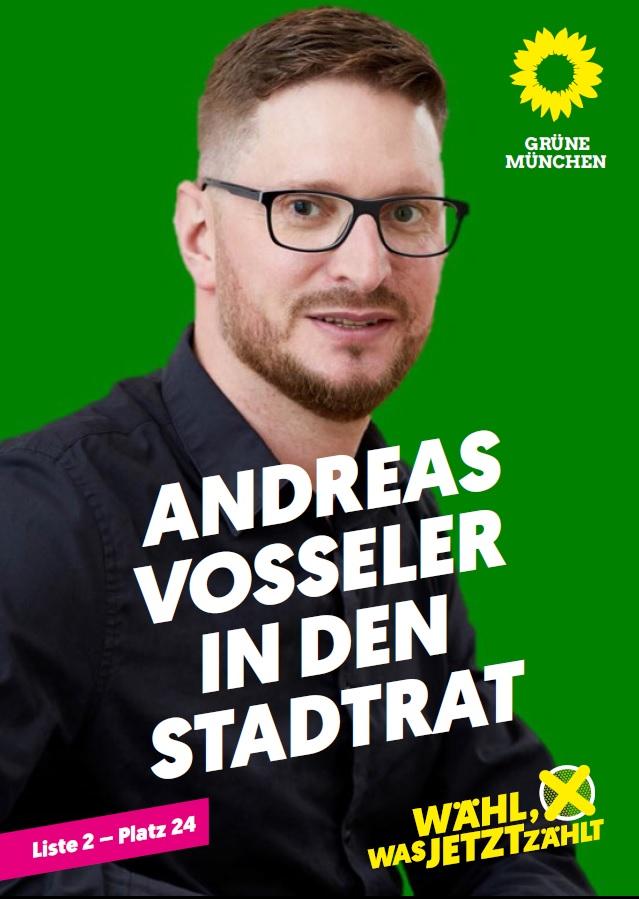 """Wahlplakat mit dem Portrait von Andreas Voßeler und der Aufschrift """"Andreas Vosseler in den Stadtrat"""""""